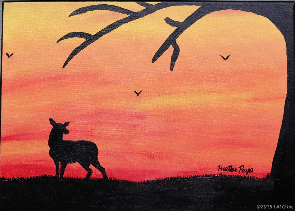 Deer at Sunset by Heather Payne