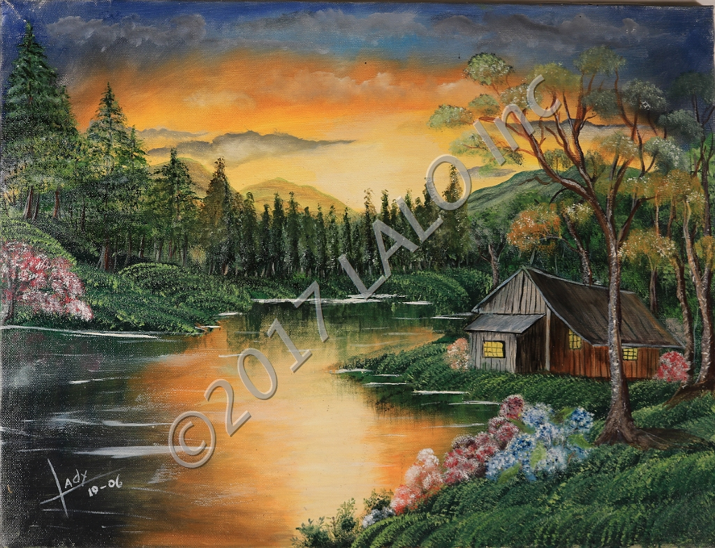 Cabin by the Lake by Lady Johnson Arias