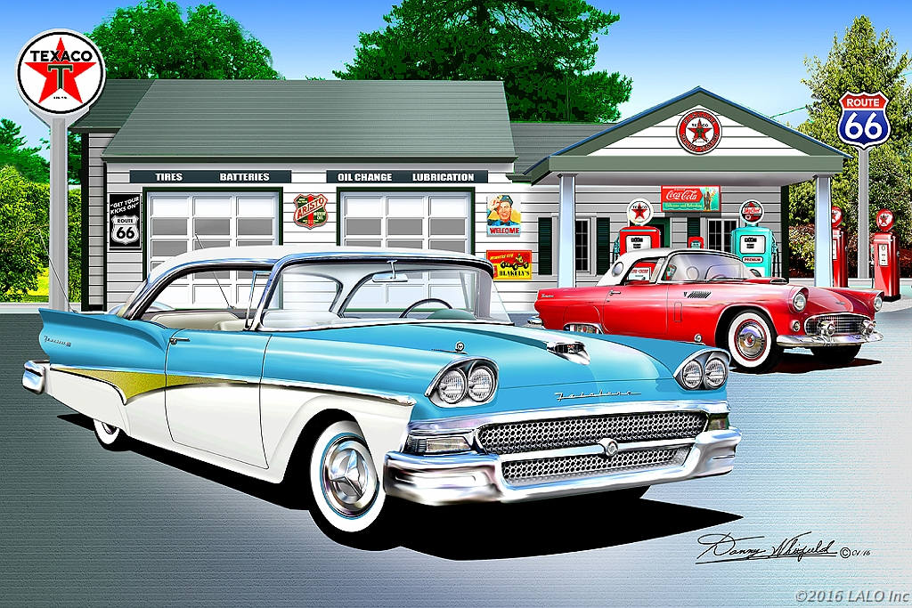 Route 66 At Texaco Gas Station by Danny Whitfield